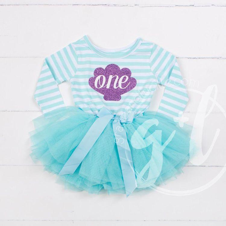 6c620e1f8817 1st Birthday Mermaid Dress Purple Sea Shell