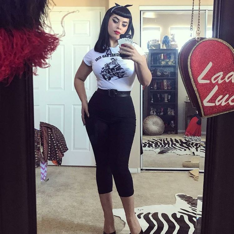 @vintagevandal is sooo smokin hot in our rad Capri's!! We have them  In red, navy, black, and gingham!! Tap pic to order!! #Repost…