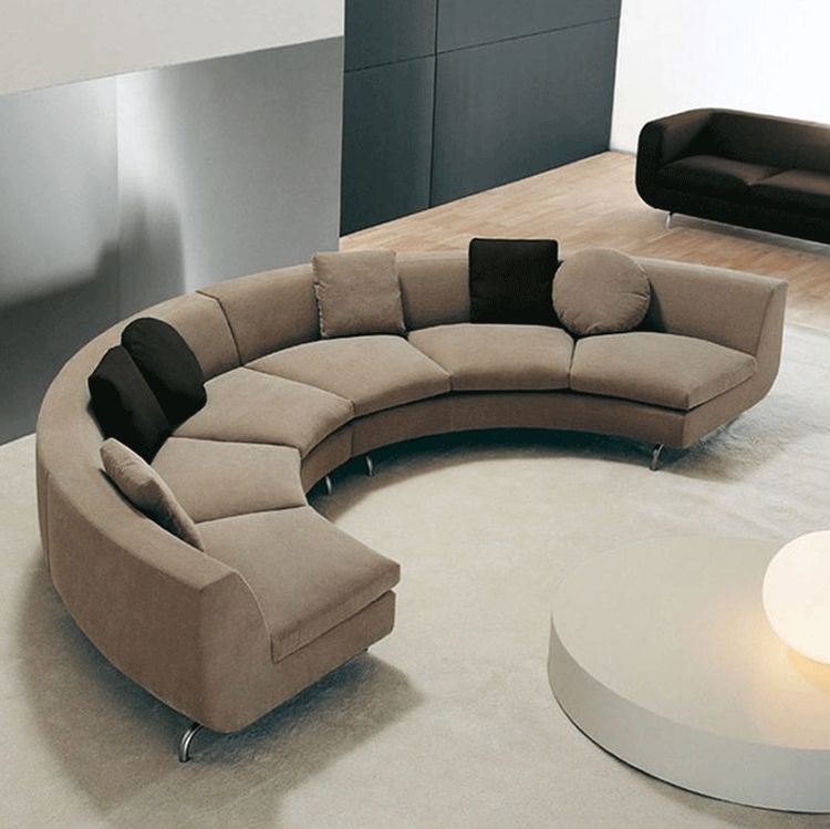 Small Round Sectional Sofa Half Curved Modern Brown Color