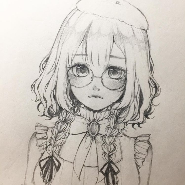 "Tasu on Instagram: ""Glasses ~ 🌱 #anime #animedrawing #animegirl #sketch #drawing #manga #mangaart #doodle #pencil"""