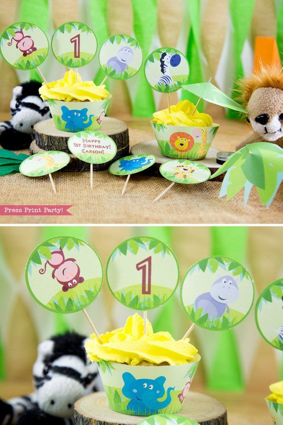 Jungle Safari Cupcake Toppers And Wrappers Printables Zoo
