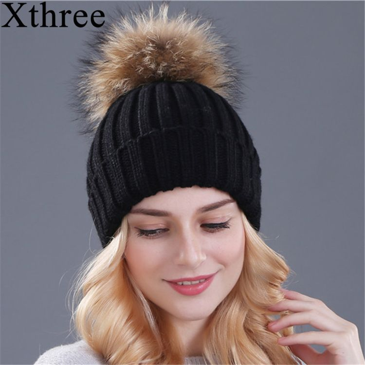 d2eeec55890ce Xthree mink and fox fur ball cap pom poms winter hat for women girl  s hat  knitted beanies cap brand new thick female cap