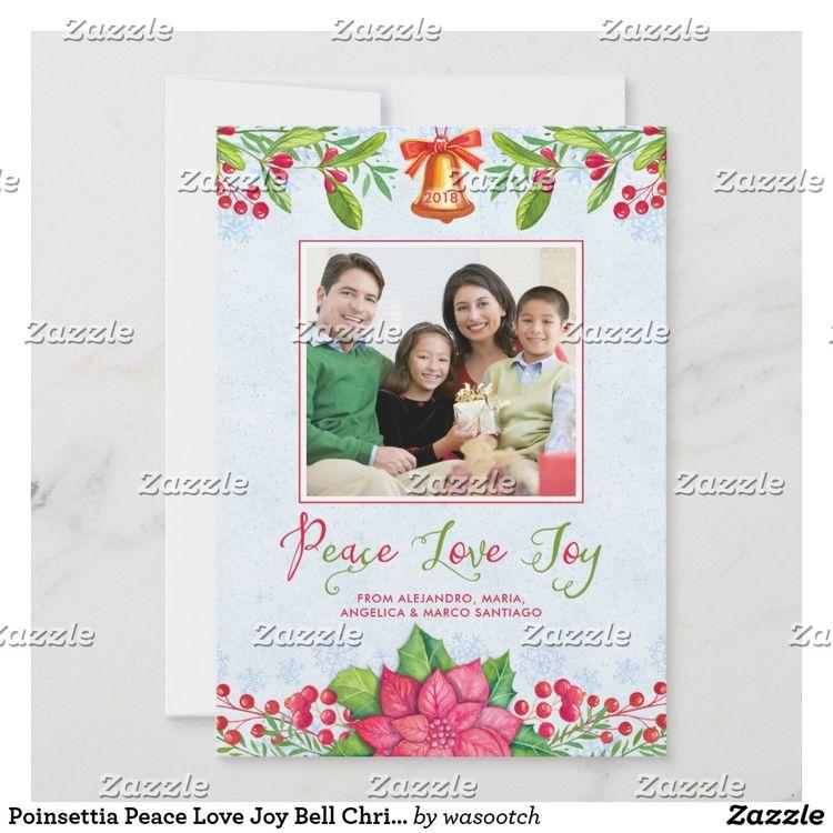Poinsettia Peace Love Joy Bell Christmas Photo Holiday Card