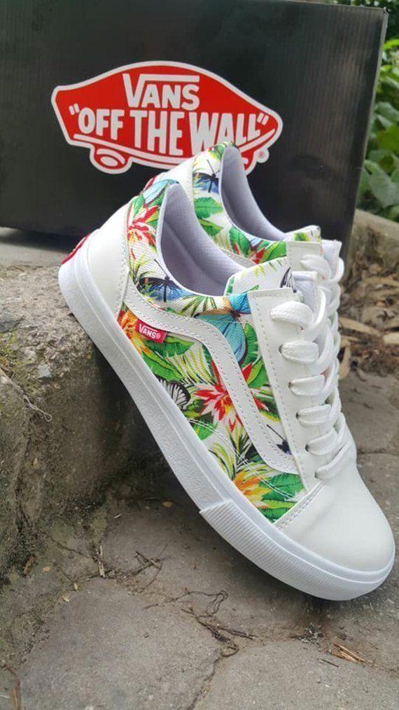 Vans-Custom Vans Rose Vans Old Skool Vans-Men/Women/Youthvans flowering vans - #... - #vansshoes