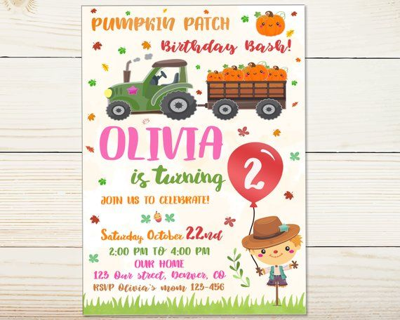 Pumpkin Birthday Invitation First Patch Fall Festival Flyer Harvest Party Carnival