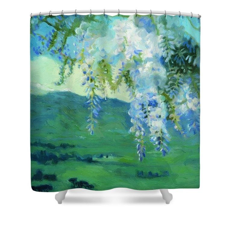 Blooming Wisteria 1912 Shower Curtain By Kustodiev Boris This Is Made From 100 Polyester Fabric And Includes 12 Holes At The Top Of