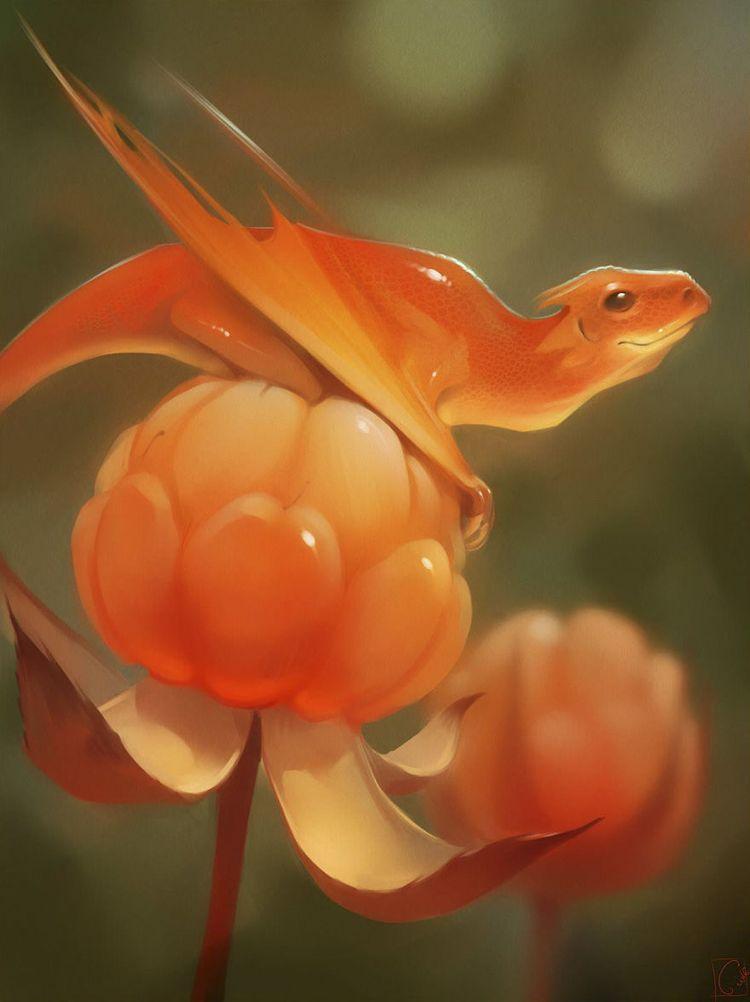 Dragões de frutas pelo artista russo Alexandra Khitrova