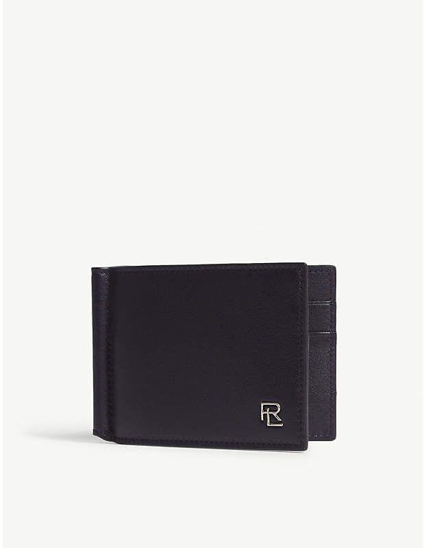 5b8f354bb5 RALPH LAUREN PURPLE LABEL Logo leather moneyclip wallet