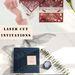 Popular navy blue and burgundy laser cut wedding invitations for backyard wedding ideas