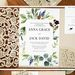 unique framed greenery leaves invitations with cream laser cut pocket