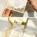 Vintage ivory laser cut wedding invitations with gold mirror backer for luxury wedding ideas