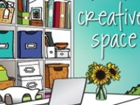 Tons of eye candy!  I love it when someone's personality and creativity shows in the space they've carved out for themselves to work and/or be creative.  I also love it when they do that and then share their decor/storage/organization/space planning ideas with the rest of us!