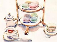 Teacups, Teapots & Pastries in Art Form! Many from Artist  Alexandra Nea, who also includes RECIPES with her artwork! Other favorite artists include Gail McCormack and Carol Gillott.