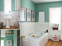 """First floor bathroom... The double bowl vanity top says """"his and hers"""" but the display apothecary jars, color-matched cotton swabs, and bubble bath accoutrements scream, """"Don't use the guest towels, damnit!"""""""