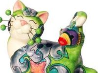 Whimsiclay Cat figurines by Amy Lacombe