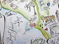 Watercolor Wedding Maps