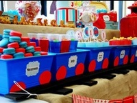 A collection of boy parties, boy cakes, party decorations, superhero, cars, trucks, sports, airplanes, party favors and more!