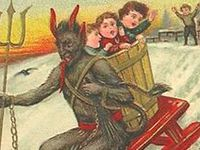 Krampus is a horrifying demon creature that originates from Europe's Alpine region. Each December 6, he accompanies St. Nicholas – the traditional gift-giver of Western Europe – in delivering presents to well-behaved children. But, unlike St. Nicholas, he punishes naughty children – usually by beating them and carrying them away in his sack back to his lair.