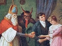Folklore at it's best!  Accompanying Saint Nicholas on his yearly journey, Krampus would collect all of the bad children while Saint Nicholas rewarded all of those who were good throughout the year.
