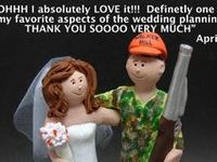 Hunter's Wedding Cake Toppers... Take aim and fire at the greatest personalized cake topper for the wedding of a hunter and his bride!!... portrayed wearing a gown and suit or a groom in his camouflage gear...sporting 12 gauge shotguns and accompanied by retriever dogs.???.... your wish is our command........perfect  for brides and grooms that like hunting, ... be it deer, duck, pheasant or groom :-)  ...perfect keepsake for the outdoor enthusiasts in your life! www.magicmud.com  1 800 231 9814