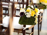 pew and chair wedding decor