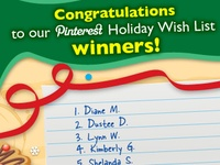 The Lakeshore Holiday Wish List Contest is now over. Thank you to everyone who participated! Congratulations to the winners: Diane M., Dustee D., Lynn W., Kimberly G., Shelanda S., Sara S., Sara-Gene P., Jennifer G., Amanda W. and Kathleen S. 