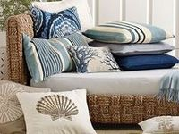 Decor items that are influenced by the colors of the ocean, sand, and sky.