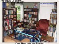 Ideas for homeschool rooms, libraries, bookshelves and study centers.