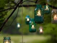 Mason jars, recycled  jars and bottles