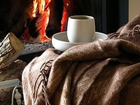 Curled up in a blanket by a crackling fire... Snuggled under a down comforter in a beautiful bedroom... Watching the snow fall outside the window with a mug of hot cocoa in hand ~ Warm and cozy.