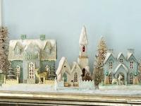 Christmas! glitter/putz houses & bottle brush trees