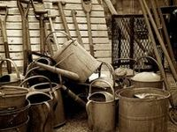 Watering cans and garden metal