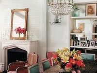Gallery wall //  floor-to-ceiling bookshelves // Bright accent pieces // White or light walls // Fun rugs // Maps // Space-savers // Chandeliers // Pianos // Fireplaces //Fur