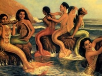 Black ( African American ) Art - featuring Mermaids , Goddesses , Angels , Queens and other Curly Head Beauties ;)