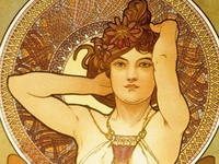 """Inspiring Art Nouveau favorites by Alphonse Mucha (1860-1939) ... master of form and decoration. Mucha was a Czech painter and decorative artist, known best for his distinct 'nouveau"""" style. He was a very influential but seldom mentioned figure in the history of art, and is, more than anyone else, responsible for the """"art nouveau"""" style that developed around the turn of the last century."""