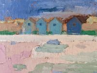 Beach Huts / Oil painting