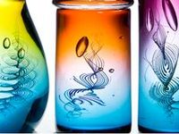 Hand blown, glass blowing, vessels, vases, bowls, dishes, platters, sculpture, art, modern colourful, coloured,