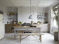 Remember : under-mounted sinks for easy clean up  Ideal: Eat-in kitchen with a table that can also serve as an island (esp if the chairs can full tuck under the table); open to the living space (like the modern white eat-in kitchen pinned from bbc.co.uk)
