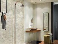17 beste afbeeldingen over badkamer tegeltrends op pinterest moza eken travertijn en - Badkamer muur tegels porcelanosa ...