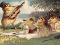Old Easter postcards, pictures and toys