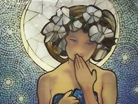 My favorite artist is Mucha and while not all of these pins are his work, they are done in his style.