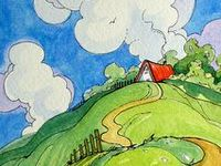 art houses and scenery to paint whimsical
