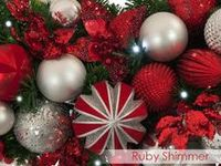 * Chas Clarkson / Ruby Shimmer Theme /  This trim theme makes an impactful and festive statement with rich ruby red and silver in an abundance of textures.