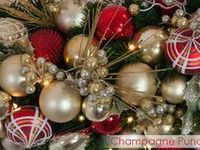 * Chas Clarkson/ Champagne Punch Theme / A Champagne Frost based trim that we spiked with festive red to give it more kick!