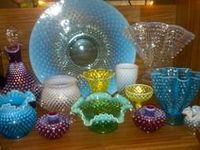 """Fenton glass.  Lamps are in """"Illumination"""".  You might notice a lot of hobnail....  Since I can't seem to stop pinning Fenton, I'm moving the non-Fenton to another board.  Also I'll have a separate board for Fenton Crest.  There are a few pieces of Anchor Hocking Moonstone Glass mixed in with the hobnail."""
