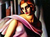 Polish born American artist Tamara Lempicka captures both the angles and fluidity of the art deco era.