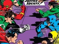 Justice League and Justice Society members from the Golden age thru the nineties.