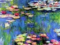 Oscar-Claude Monet (14 de noviembre de 1840 en París - 5 de diciembre de 1926 en Giverny)  hasta 1860, son de estilo realista. Despues comenzó a pintar obras impresionistas  formó parte de las exposiciones  en las cuales también participaron Pierre-Auguste Renoir y Edgar Degas. Monet desarrolló el concepto de las «series» en las que un motivo es pintado repetidas veces con distinta iluminación.  comenzó a trabajar en el famoso jardín de su casa en Giverny con estanques de nenúfares
