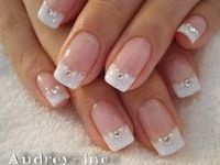 "White, silver and gold bridal wedding manicures, nails, pedicures, and toe designs for the bride on her wedding day.  See board: ""Honeymoon - Manicures & Pedicures"""