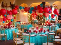 1950s Vintage Fun Wedding with Fun colors! Aqua Red Vintage Wedding Ideas. Photo Booth, Juke Box, Dancing, Board Game Table!